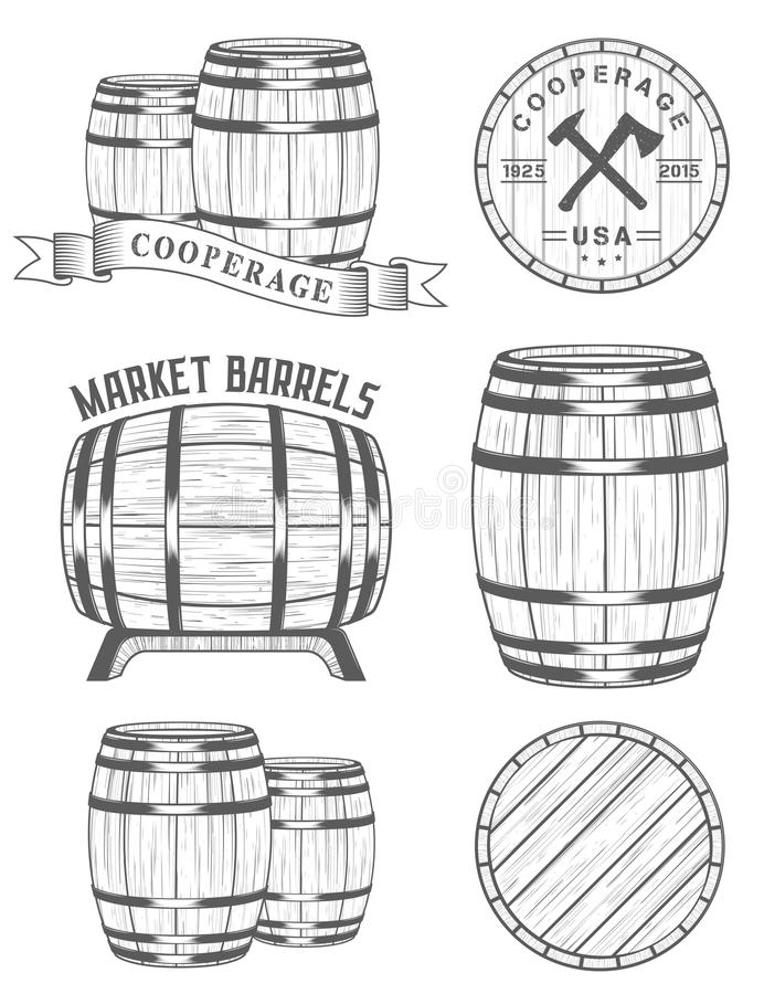 Vector set and logos cooperage workshops. Vector set of badges and logos cooperage workshops. The collection of symbols and emblems on a white background - stock royalty free illustration