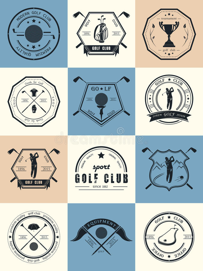 Vector Set of Logos Golf Club. Vector set of golf club logos, labels and emblems. Golfer playing logo design template vector illustration