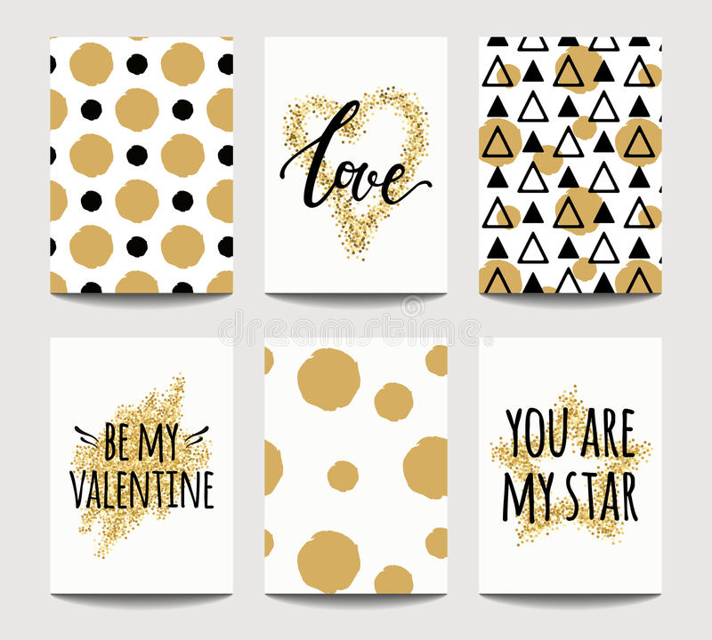 Vector set of love cards for wedding and Valentine`s day with golden sparkling effects stock illustration