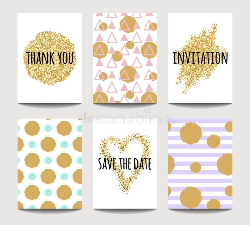 Vector set of love cards for wedding and Valentine`s day with golden sparkling effects vector illustration