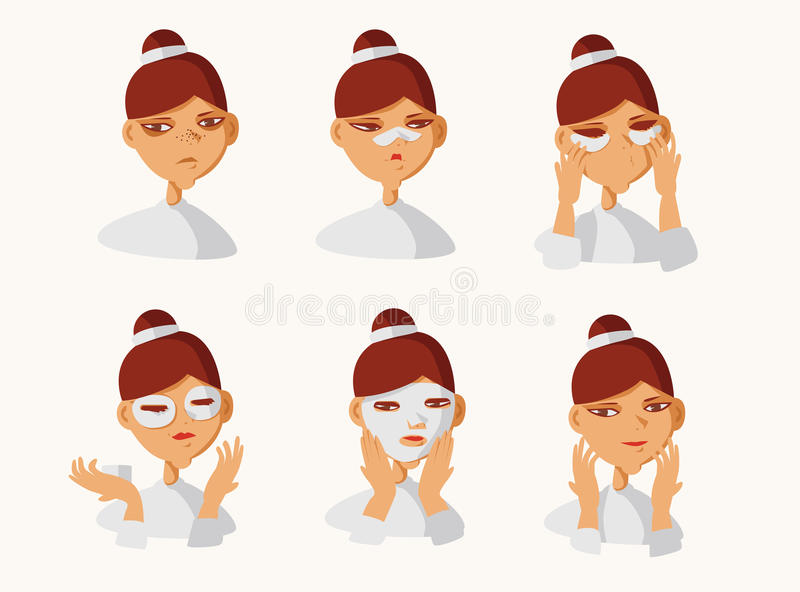 Vector set with lovely brunette girl taking care of her skin. Collection isolated on background with girl applying patches under e royalty free illustration
