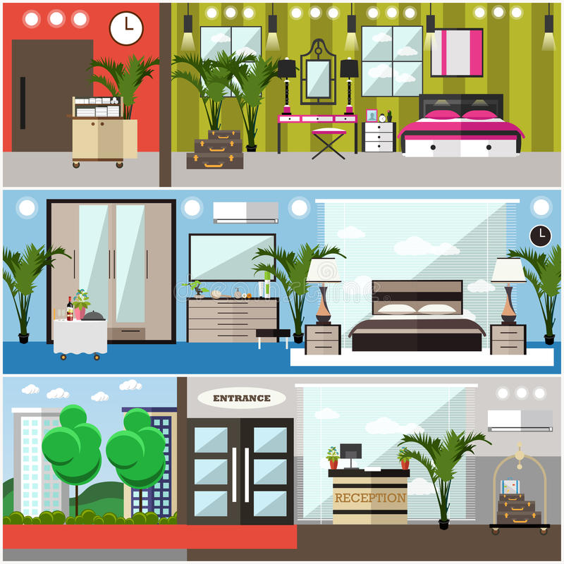 Vector set of luxury hotel interior flat posters, banners royalty free illustration