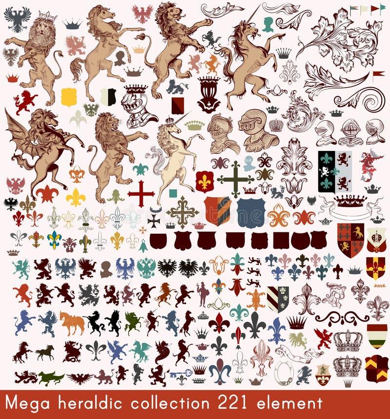 Vector set of luxury royal vintage elements for your heraldic de stock illustration