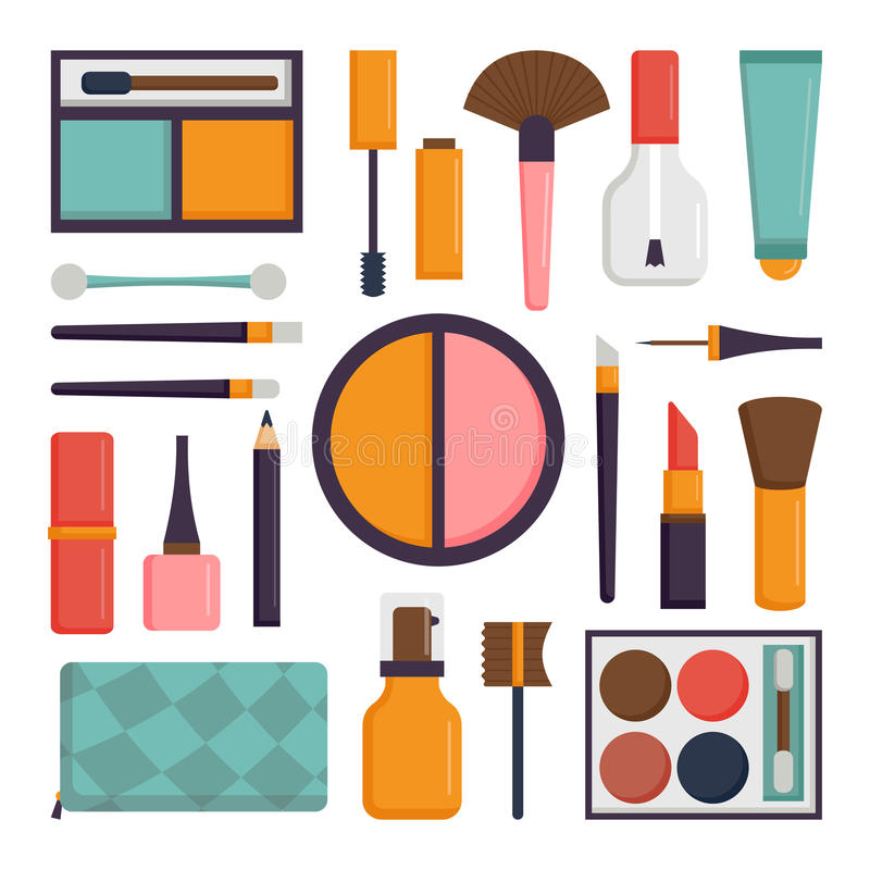 Vector Set Make Up Brushes And Beauty Fashion Cosmetic