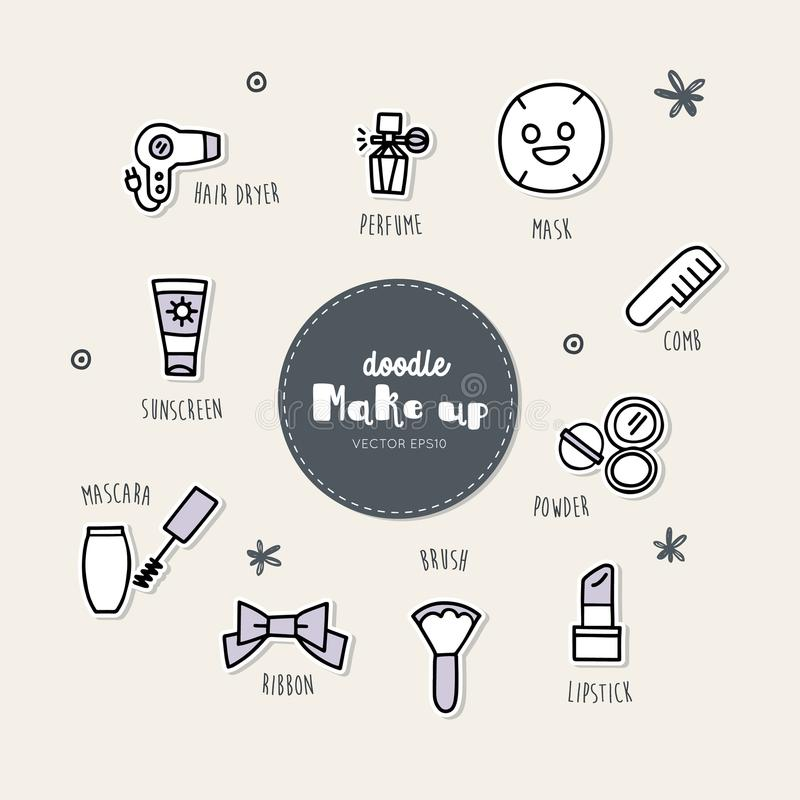 Vector set of make up icons. Doodle. vector illustration