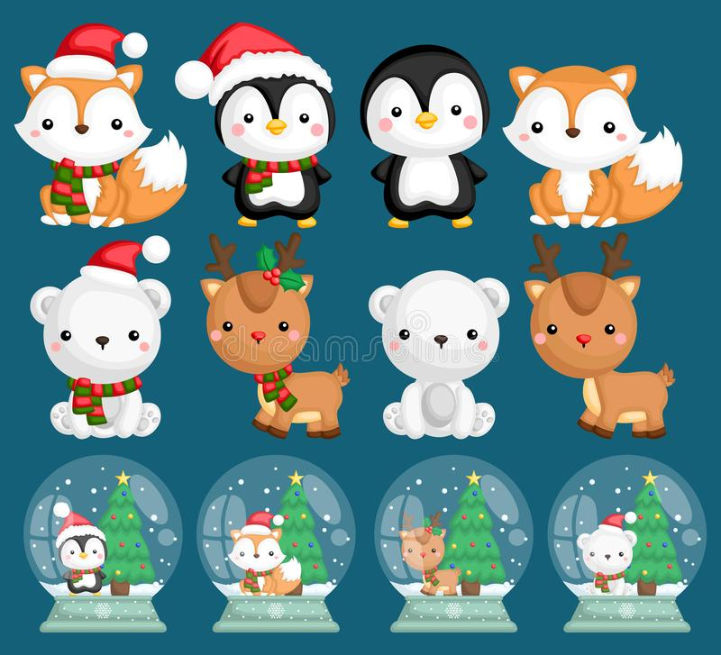 A vector set of many animals inside snow globes. Vector set of many animals inside snow globes royalty free illustration