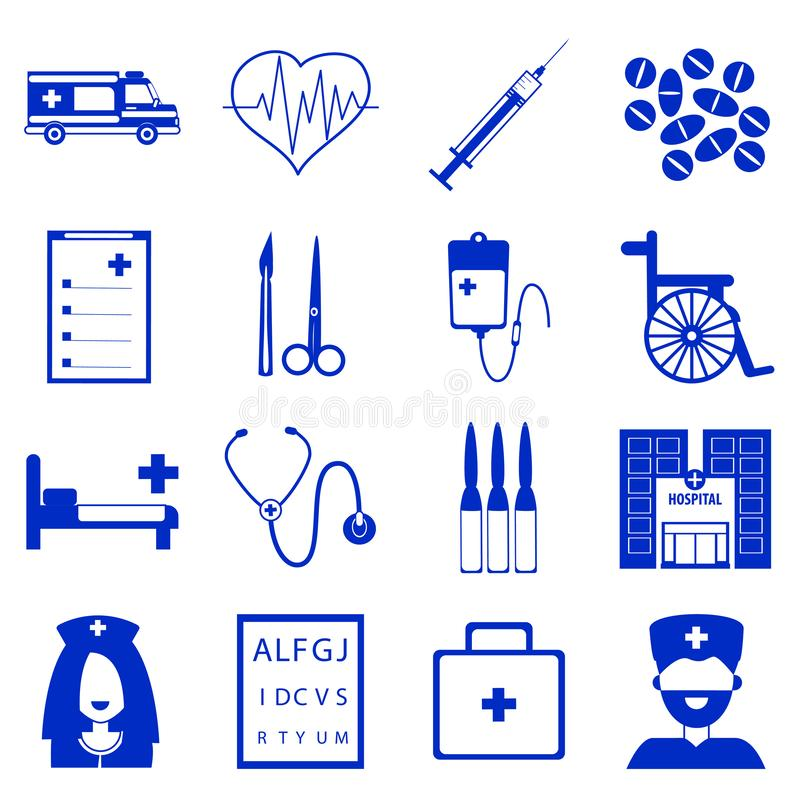 Vector set of medical icons with blue fill vector illustration