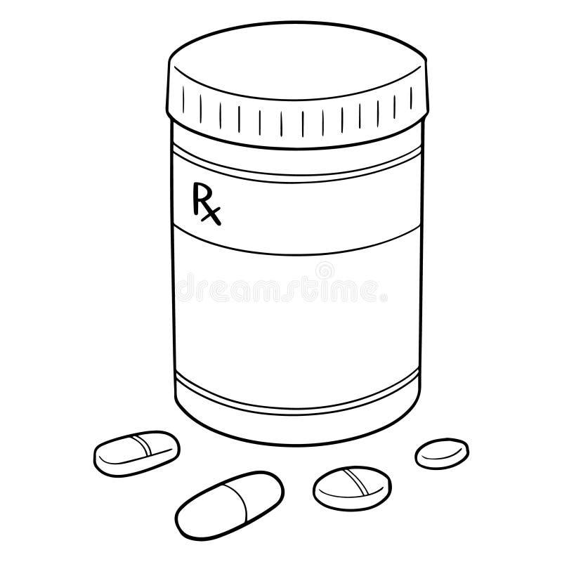 Vector set of medicine and medicine bottle. Hand drawn cartoon, doodle illustration stock illustration