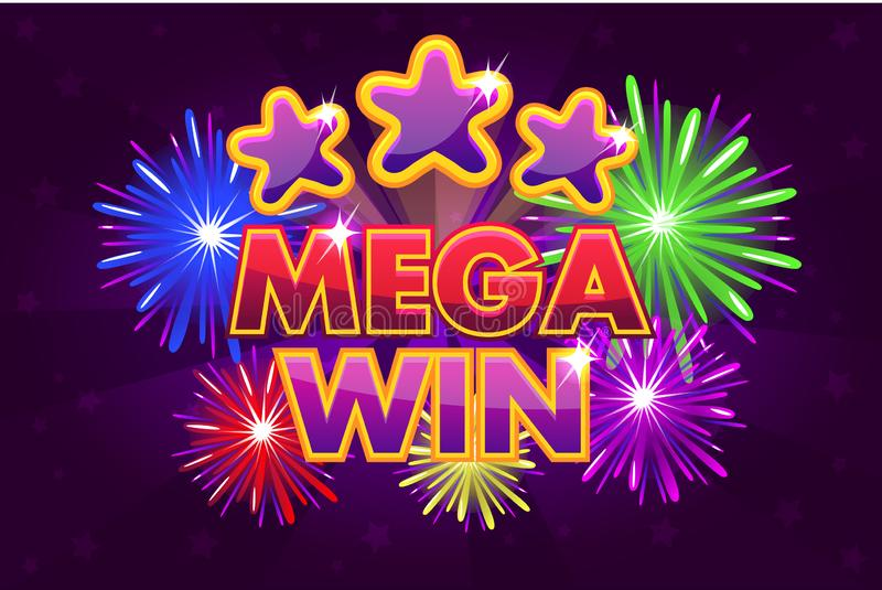 Vector Set MEGA big win banner for lottery or casino games. Shooting colored stars. And firework vector illustration