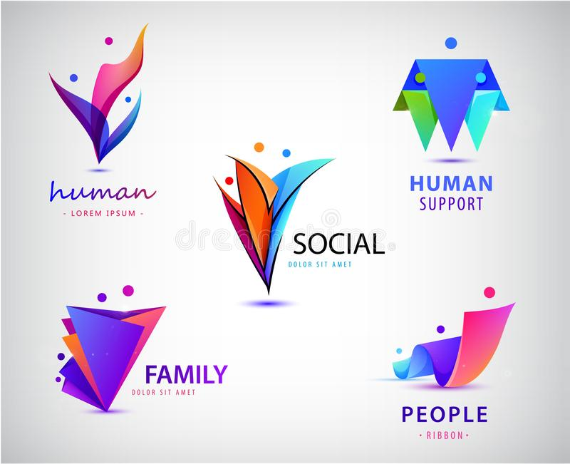 Vector set of men, people group, family logos. Child adoption logo collection and charitable foundations stock illustration