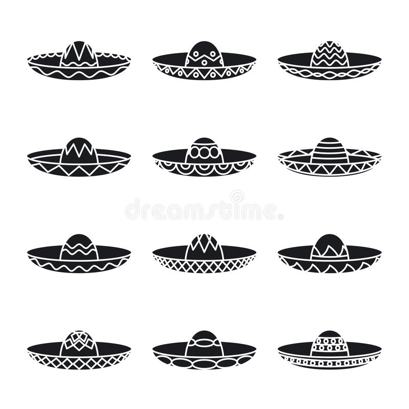 Vector set of mexican sombrero hat. Fashion spanish, mexico design, accessories collection stock illustration