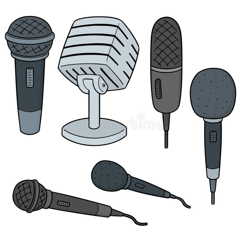Vector set of microphone. Hand drawn cartoon, doodle illustration stock illustration