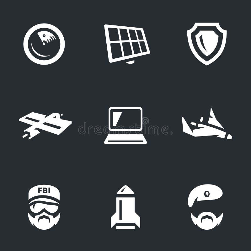 Vector Set of Military intelligence Icons. stock illustration