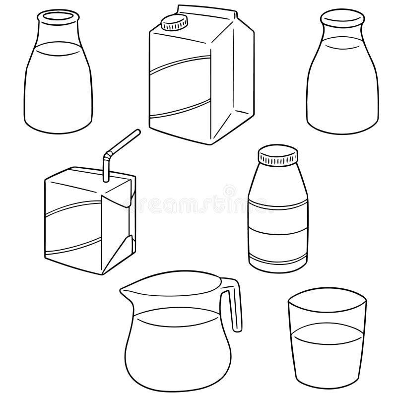 Vector set of milk. Hand drawn cartoon, doodle illustration stock illustration