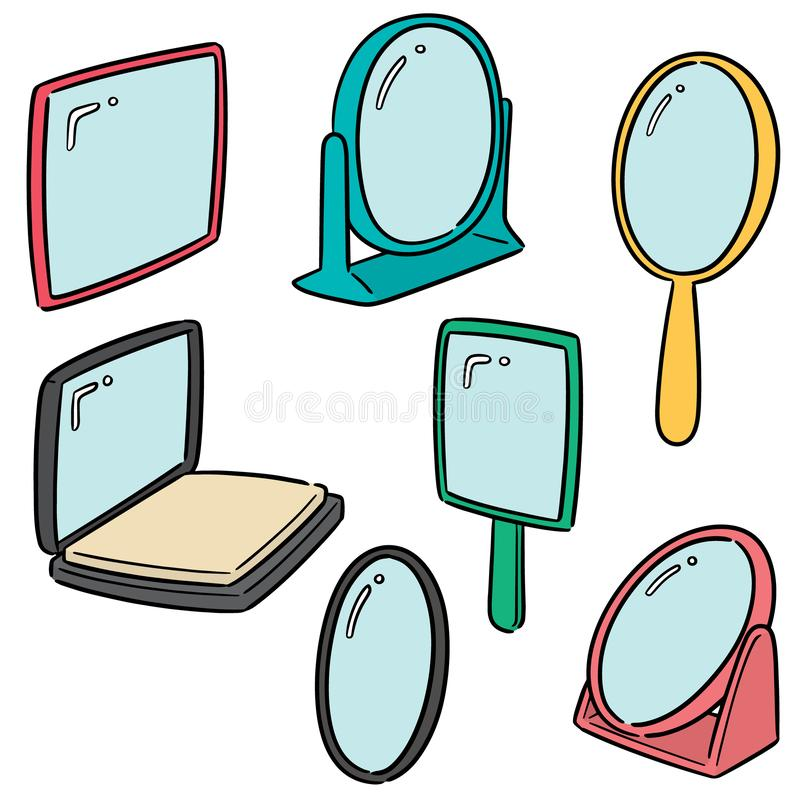 Vector set of mirror. Hand drawn cartoon, doodle illustration stock illustration