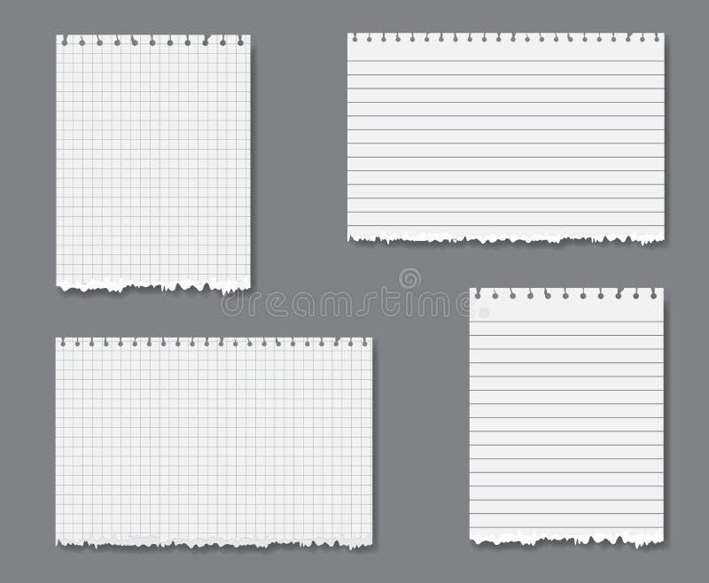 Vector Set mit gezeichnetem und Zeichenpapier mit Maßeinteilung stock abbildung