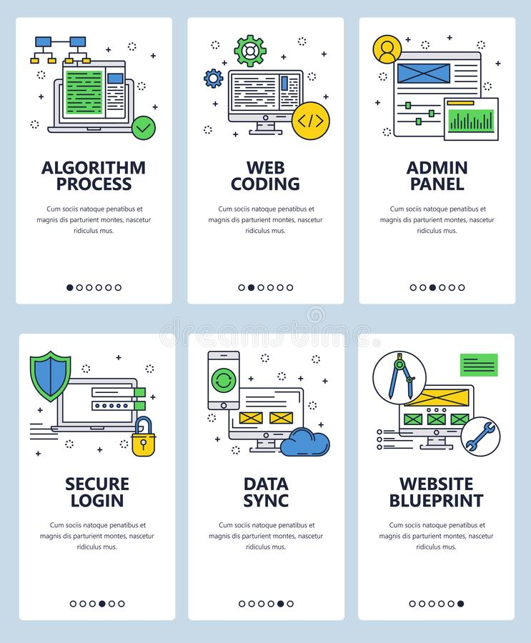 Vector line art web and mobile app template set stock vector algorithm process web coding admin panel secure login data sync website blueprint web templates and banners thin line art style design icons malvernweather Gallery