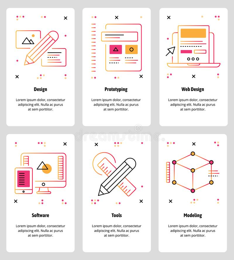 Vector line art web and mobile app template set royalty free illustration