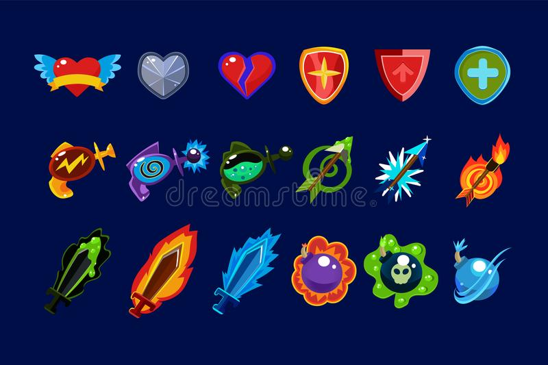 Vector set of mobile game assets. Hearts, defense shields, bottles with poisons magic elixirs, arrows, swords and bombs. Collection of colorful mobile game royalty free illustration