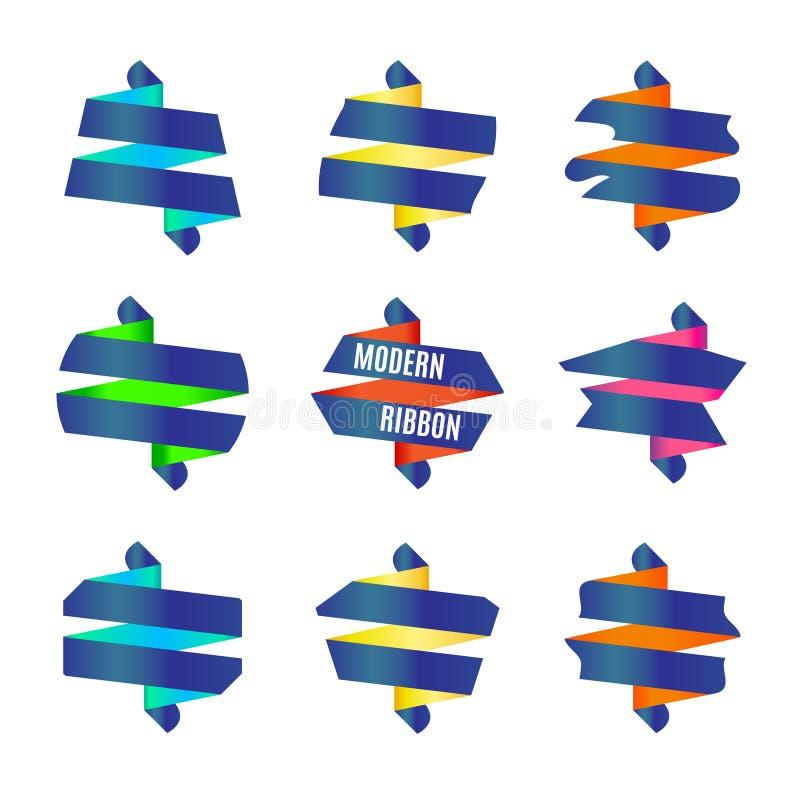Vector : Set of Modern abstract ribbons badge stock illustration