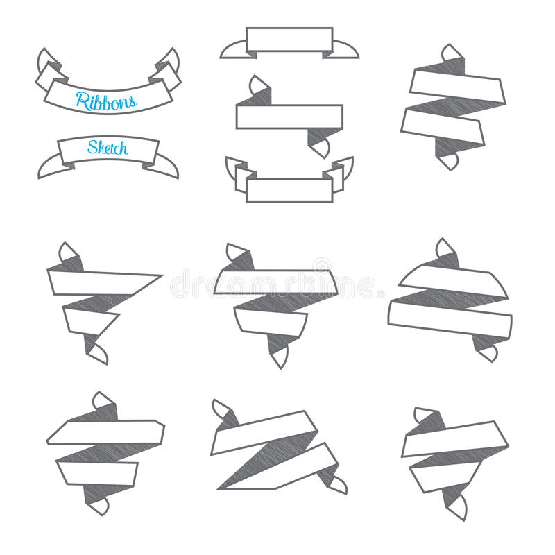 Vector : Set of Modern abstract ribbons in sketch style ,use for royalty free illustration