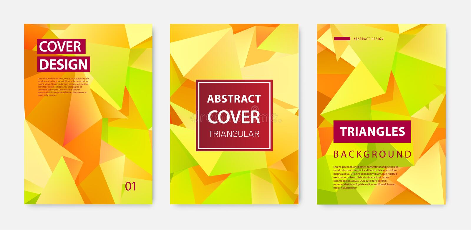 Vector set of modern cover design templates. Geometric facet shapes, abstract geometric flyers, annual reports, pages. Posters, booklets stock illustration