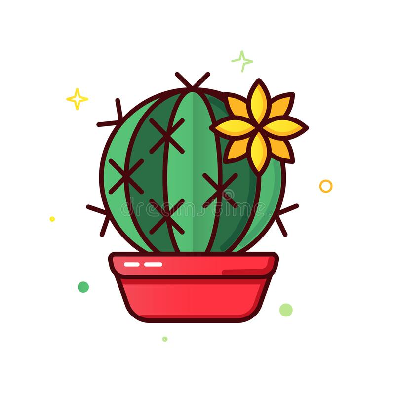 Line color icons of cactus vector illustration