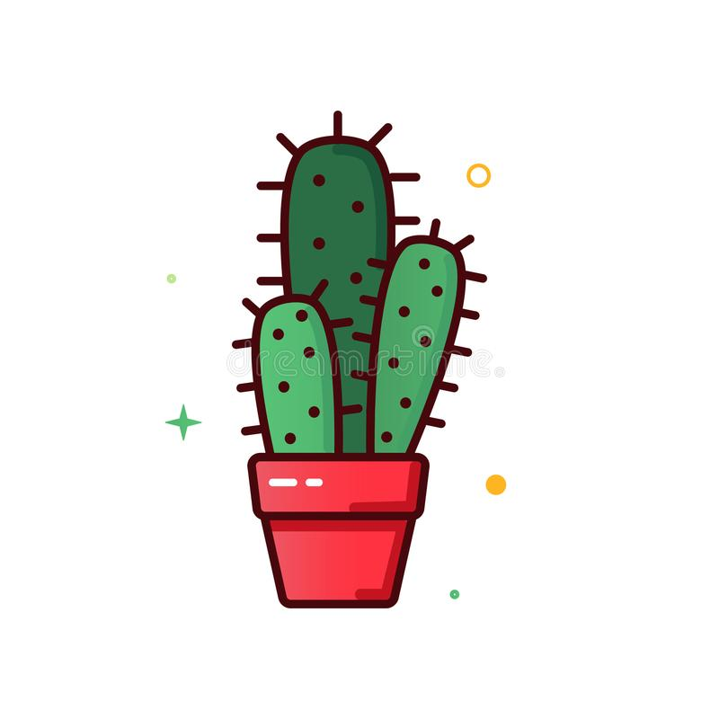Line color icons of cactus stock illustration