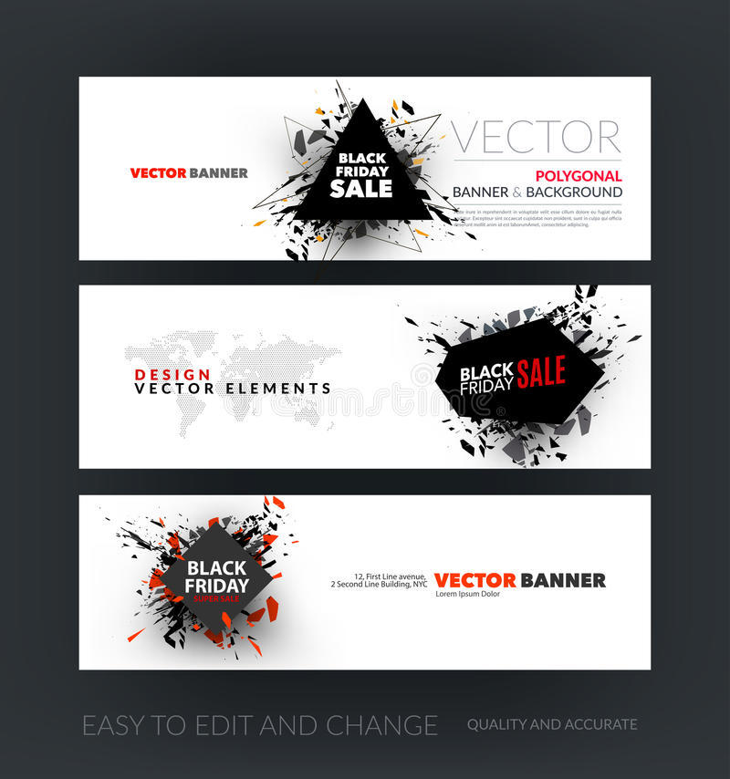 Vector set of modern horizontal website banners with Black Friday sale inscription design template, marketing price tag, discount vector illustration