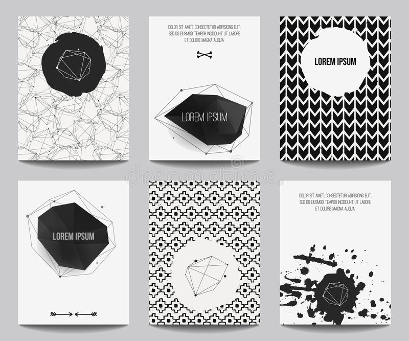 Vector set of modern posters with geometrical shapes and splashes royalty free illustration