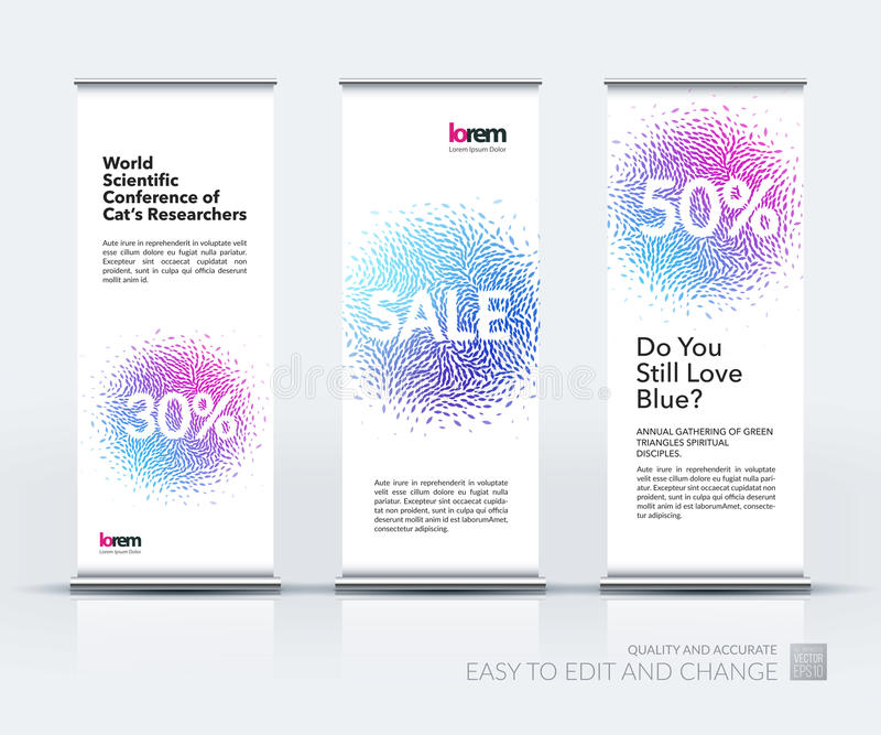 Vector set of modern roll up banner vertical stand design with stock illustration