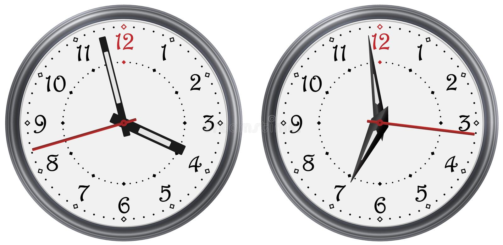 Vector set of modern round clock with various clock hands. Classic clock dial face. Vector clock arable numerals watch vector illustration