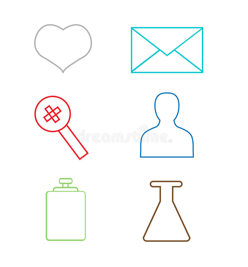 Vector set modern thin line colorful web icons. royalty free illustration