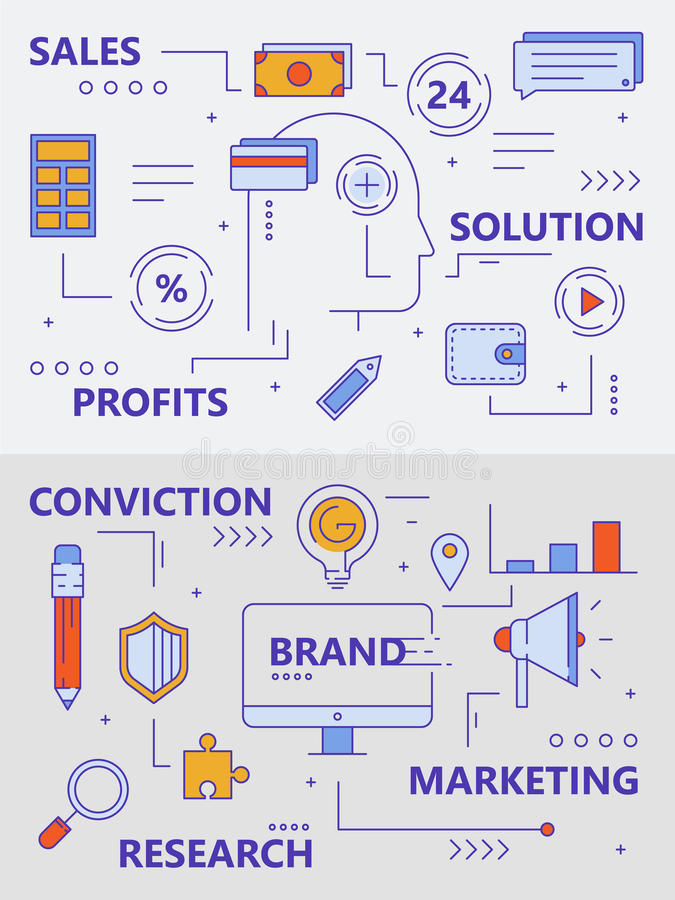 Vector set of modern thin line sales concept banners royalty free illustration