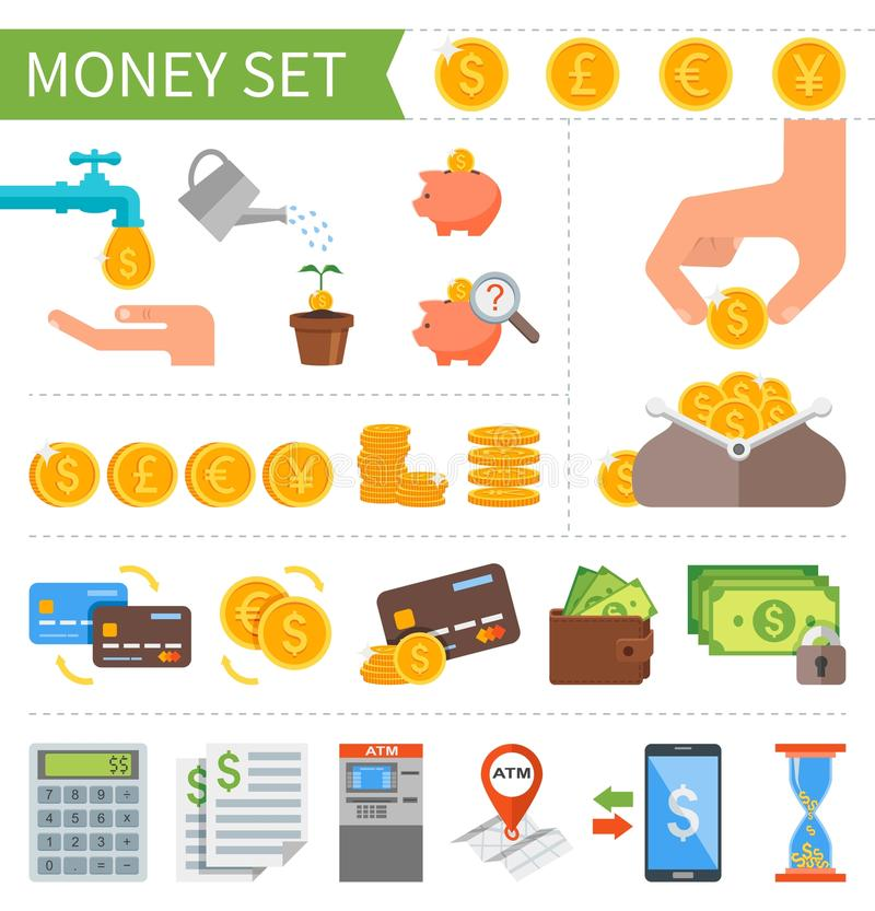 Vector set of Money and Finance icons in flat vector illustration