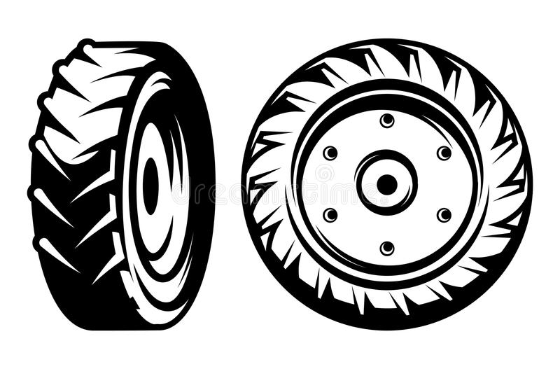 Vector set of monochromatic tractor wheels different kinds royalty free illustration