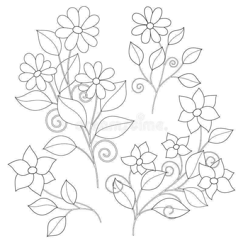 Vector Set of Monochrome Contour Simple Flowers, Floral Design Elements stock illustration