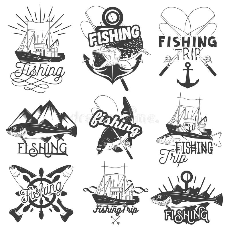 Vector set of monochrome fishing trip emblems. Isolated badges, labels, logos and banners in vintage style with ship royalty free illustration