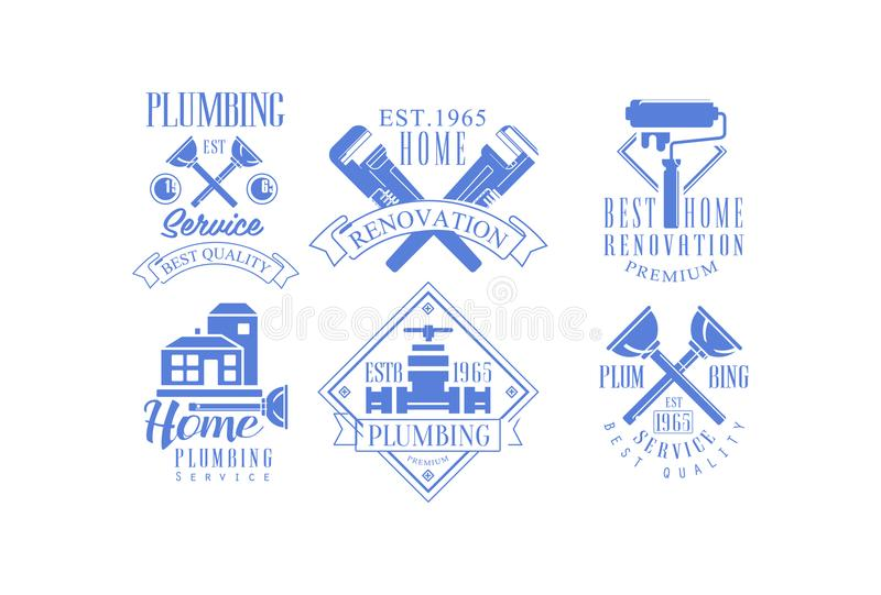 Vector set of 6 monochrome logo templates for plumbing and construction services. Home renovation, house painting and. Set of 6 monochrome logo templates for stock illustration