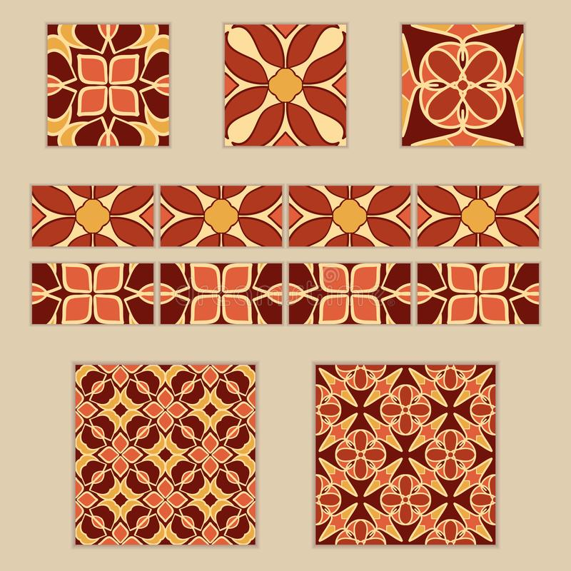 Vector set of Moroccan tiles and borders. Collection of colored patterns for design and fashion stock illustration