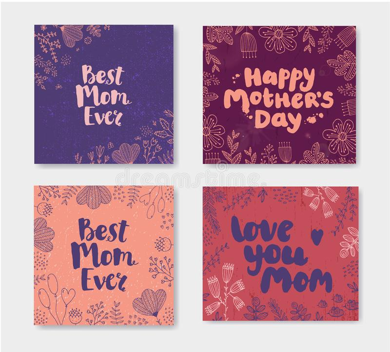 Vector set of Mother s day doodle cards. Hand drawn lettering with flowers. est mom ever, happy mothers day stock illustration
