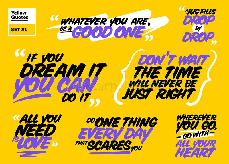 Collection Of Inspiring Quotes: Vector Set Of Motivational Quotes. Inspiring Short Phrases