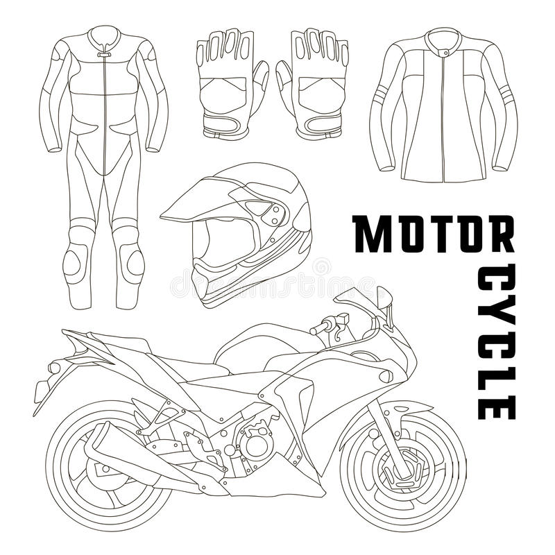 Vector set of motorcycle accessories stock illustration