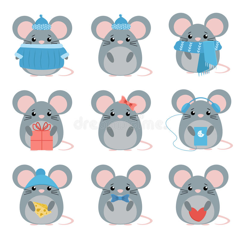 Vector set mouse in warm clothes with different subjects: cheese, hat, scarf, gift, heart, bow. Cartoon cute illustration royalty free illustration