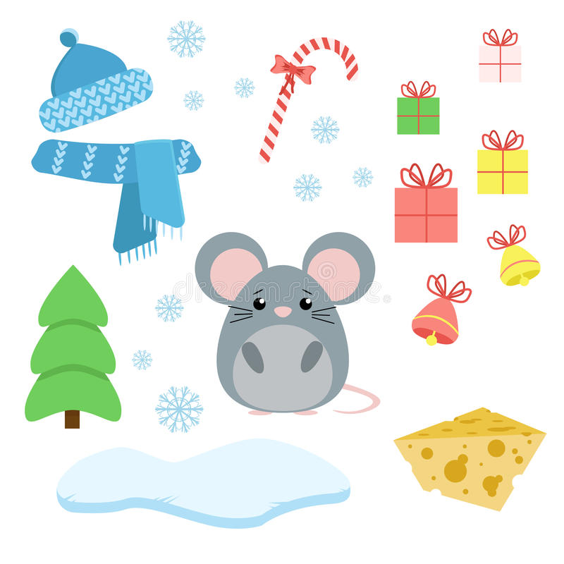 Vector set of mouse with xmas staff: lollipop, gifts, tree, iceberg, hat and scarf, fish and bells. royalty free illustration