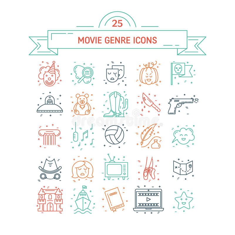 Vector set of movie genres. Line icons on white background. Different film genre elements perfect for infographic or mobile app stock illustration