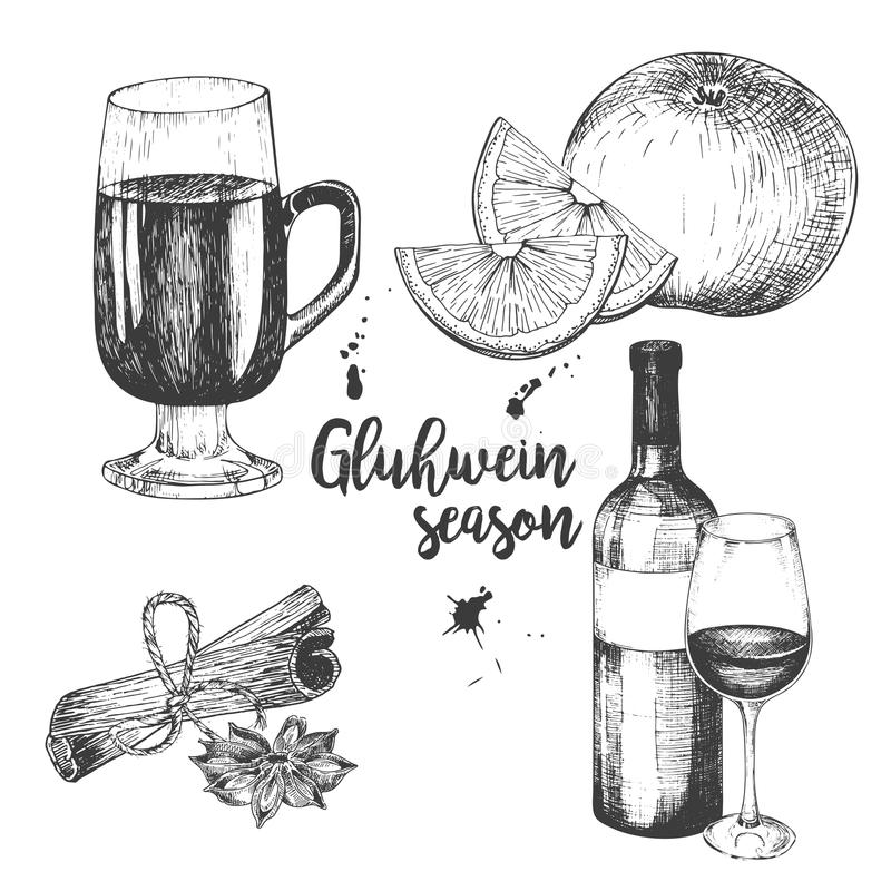 Vector set of mulled wine. Bottle, glass, orange, apple, cinnamon sticks, anise. Vintage engraved style. Decorated with blots. Use for season restaurant, menu royalty free illustration