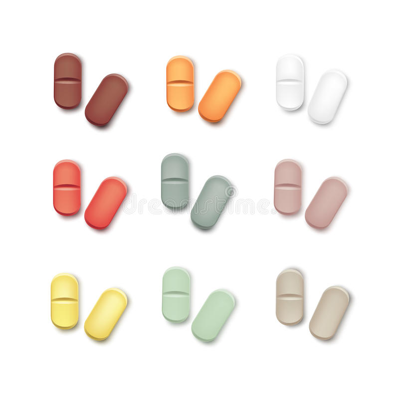 Vector Set of Multicolored Pills Isolated on White royalty free illustration