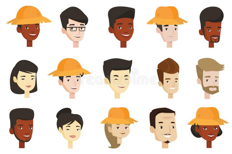 Vector set of multicultural women and men. stock illustration