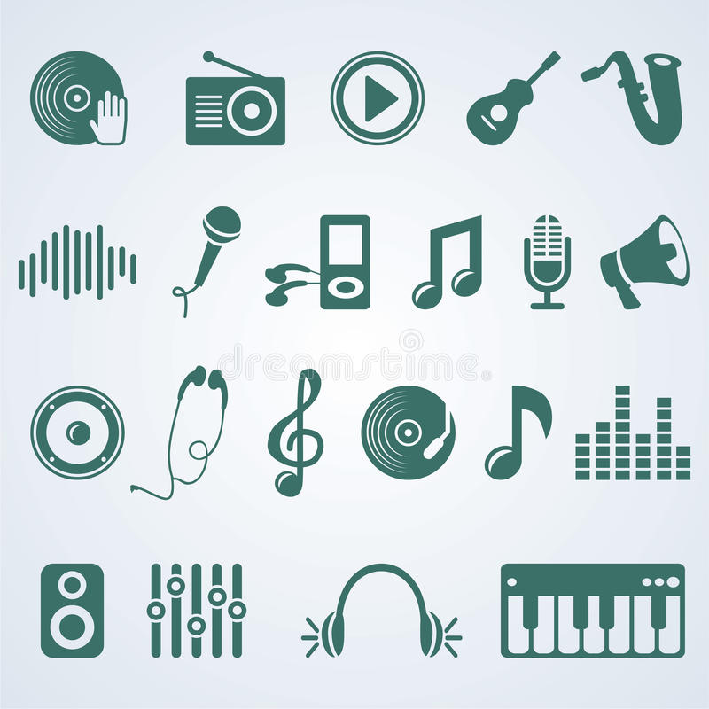 Vector set of music icons vector illustration